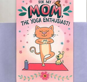 Funny Happy Mother's Day Mom Yoga Cat Enthusiast Hallmark Pop Up Greeting Card
