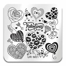Nail Art Stamping Plates Image Plate Decoration Valentines Day Love Hearts URM01