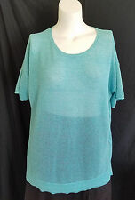 Chicos Crochet Style Knit Top Short Sleeves Loose Blouse Blue Size 4 2XL