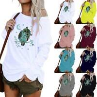 Plus Size Women Cartoon Owl Print Baggy Blouse Long Sleeve T Shirt Casual Tops