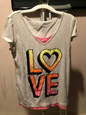"Girls Gray Justice ""LOVE "" Shirt Size 16"