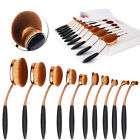 10Pc Deluxe Oval Cream Puff Cosmetic Toothbrush Shaped Makeup Foundation Brushes