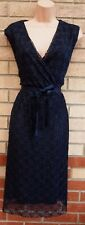 NAVY BLUE FLARE FLORAL LACE BELTED SLEEVELESS V NECK PARTY EVENING TEA DRESS 14