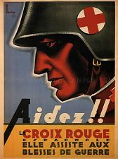 Guerra Civil Española caridad ayuda Cruz Roja a Francia Antiguo Anuncio Cartel 2860pylv