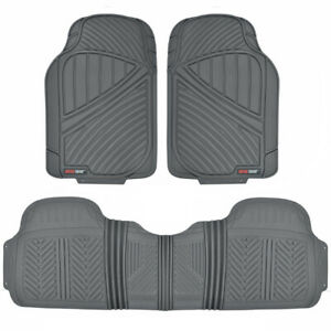 Motor Trend Heavy Duty All Weather Rubber Car Floor Mats with Row Liner - Gray