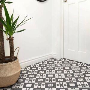 Retro Victorian Geometric Pattern Black White Floor Tiles 33 X 33 cm Porcelain