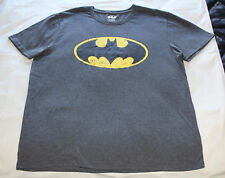 DC Comics Batman Classic Logo Mens Charcoal Marle Printed T Shirt Size 4XL New