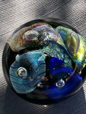 """2000 Ron Schuster Studios Dichroic Controlled Bubble Art Glass Paperweight 3"""""""