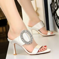 Women Slippers Mules Slip on Flip Flops Stilettos High Heel Outdoor Sandals