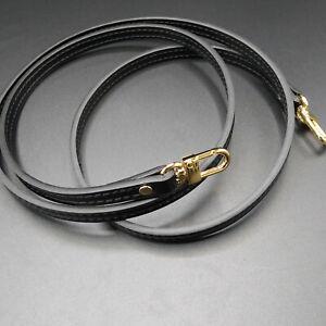 "120CM Black Crossbody Leather Shoulder Strap Replacement For Louis Vuitton 47.3"""