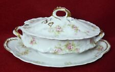 HAVILAND Limoges Schl 149 PINK WHITE YELLOW ROSES Sauce Boat with Lid Blank 118