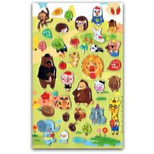 CUTE ANIMAL FRIENDS GEL STICKERS Kids Craft Scrapbook Raised Sticker Sheet