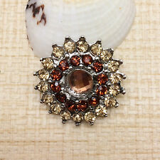 NEW Rhinestone Brown Bloom Charm Chunk Snap Button fit for Noosa Bracelet IPO03