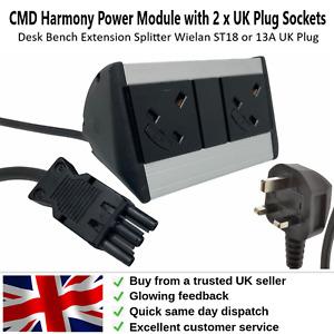 Desk Power Socket 2 x UK Plug Sockets Desk Bench Extension Splitter CMD Harmony