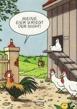 """Postkarte, Osterkarte, Hase, Hühner, """"Meine Eier kriegt der nicht!"""""""