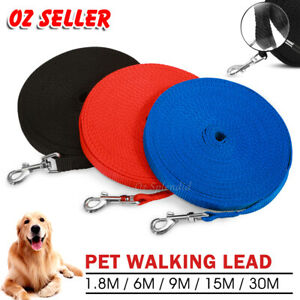 1.8/6/9/15/30M Long Dog Pet Puppy Training Obedience Rope Recall Lead Leash AU