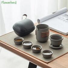 Service à thé en céramique chinoise sac de transport théière tasses portable zen