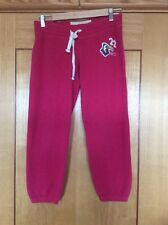 Fab Hollister Jogging Tracksuit Bottoms Trousers Size Xs Pink Red