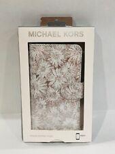 Michael Kors White Flower Metallic IPhone X/ XS Folio Case With Card Pockets