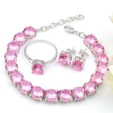 Mixed Oval 3 pcs 1 Lot  Natural Pink Topaz Gems Bracelet Stud Earrings Ring Sz 7