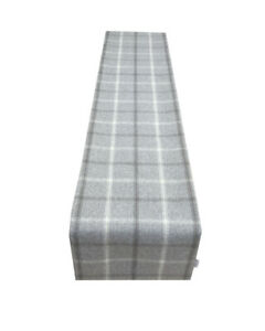 Highlands Lewis Dove Grey Tartan Tweed Faux Wool lined table/Bed runner made UK