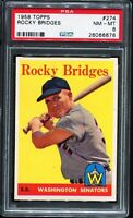 1958 Topps Baseball #274 ROCKY BRIDGES Washington Senators PSA 8 NM-MT