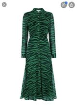 Whistles Carys Green Black Tiger Print Shirt Midi Dress Size UK8/EU Small, New