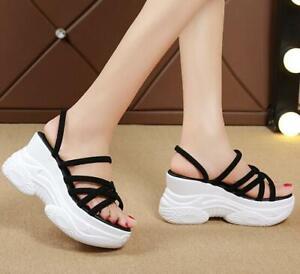 Womens High Heel Platform Open Toe Fashion Slippers Shoes Slip On Summer Sandals
