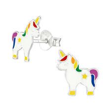 ICYROSE Sterling Silver Unicorn Rainbow Girls Kids Stud Earrings 3648