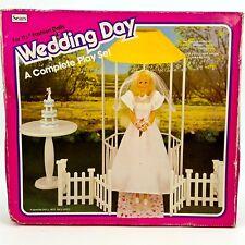 Wedding Day Play Set for Barbie Fashion Dolls Gazebo Dress Cake Fence Sears Vtg