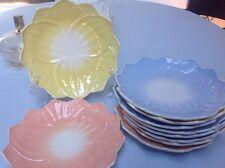 "Set of 10 Fire King Hocking VITROCK 8"" Pastel Milk Glass Lotus Flower Plates"