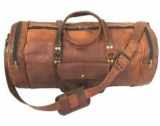 "22"" Men's Brown Genuine Goat Leather Overnight Messenger Briefcase Carry Bag"