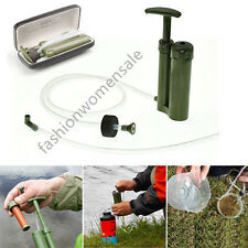 Soldier Portable Water Purifier Purification Backpacking Pump Filter&Hard Case Q