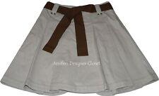 NWT GUNEX designer skirt 4 40 $438 pleated belt w/ leather ends Italy career tan
