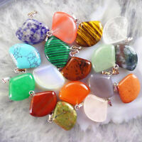 17pcs Mixed Gemstone Fan-shaped Pendant Bead