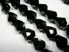 25 Jet Black Czech Glass Faceted Bell Teardrop Beads 9x7mm