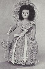 "Vintage Crochet PATTERN to make Doll Clothes Dress Hat Bonnet Parasol 8"" DoreenS"