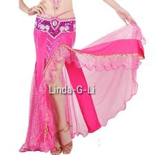 New One side slit with Gold sequins Long Belly Dance Skirt  7 Colors choices 1/1