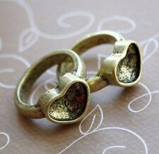 Antique gold ring setting, coeur, idéal pour crystal clay, résine, fimo - 4 pcs