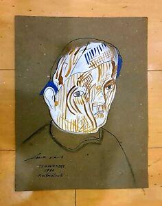 JOSE LUIS CUEVAS GOUACHE COLOR SELF PORTRAIT PAINTING ON PAPER SIGNED