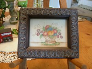 Vintage Framed THEOREM PAINTING by Carolyn Wolfe on Velvet Fruit Basket  AFFA