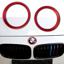 2X Red Car Front Rear Logo Ring Decoration For BMW 3 4 Series E36 E92 F30 M3 M4