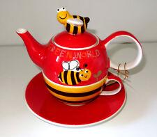 Tea for one Set Fritzi Biene Teekanne Tasse Deckel kleine Kanne Handbemalt
