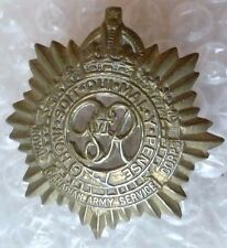 Badge- WW2 Royal Canadian Service Corps Cap Badge KC GVI (All BRASS, Org*)