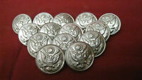 Vintage Lot of 14 Waterbury Co. Silver Colored Eagle Embossed Buttons #12