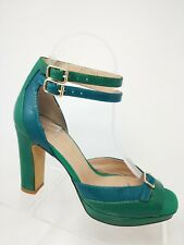 Anthropologie Bruno Premi Blue Green Leather Block Heel Double Ankle Strap 37/7