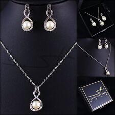 Set: cadena + pendientes * infinita perla * trébol pl., swarovski elements, + estuche