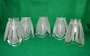 Set of 5 VTG SEMI FROSTED GLASS LIGHT SHADES CHANDELIER CEILING FAN