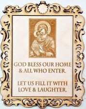 """""""Bless This Home"""" Homemade + Framed Wooden Wall Plaque with Christian Engraving"""