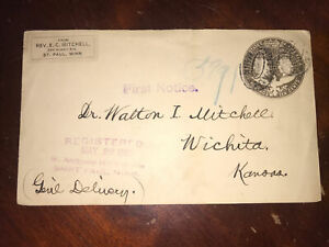 1906 Rev. E. C. Mitchell St. Paul, Minn. To Wichita Purple Registered Cover Aux.